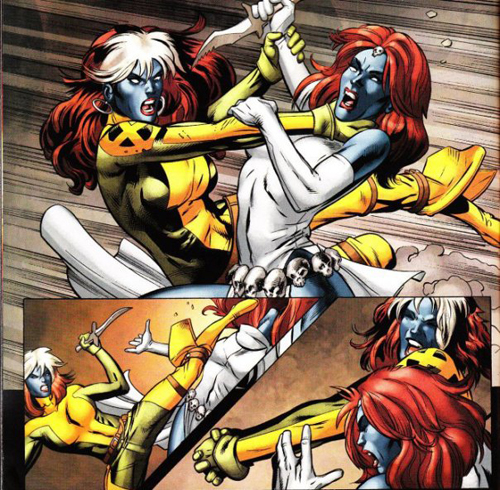 Mystique and Rogue fight.