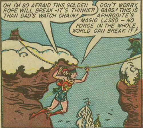 Wonder Woman and Babs go across the ravine