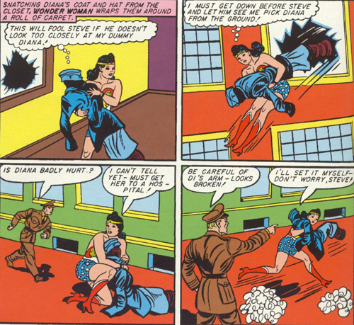 Wonder Woman fools Steve with a rug dressed like Diana.