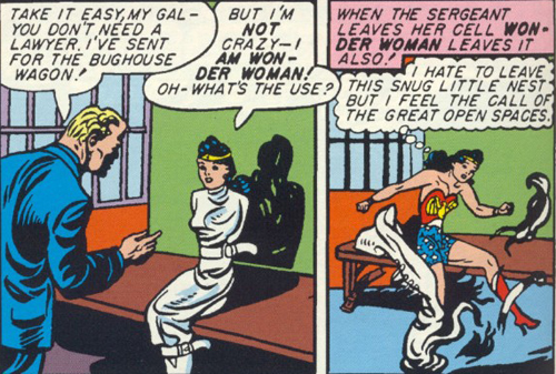 Wonder Woman breaks out of her restraints and jail.