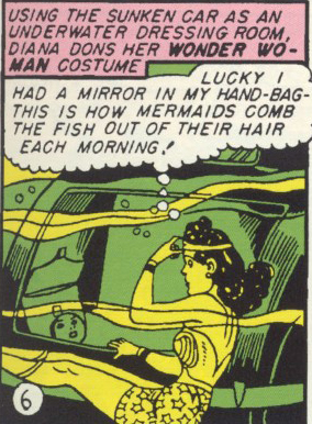 Wonder Woman combs her hair underwater.