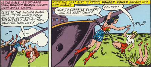 Wonder Woman frees the girls.