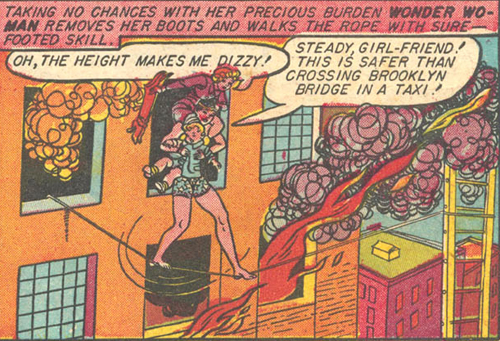 Wonder Woman walks on the tightrope to save Kibby and Ann.