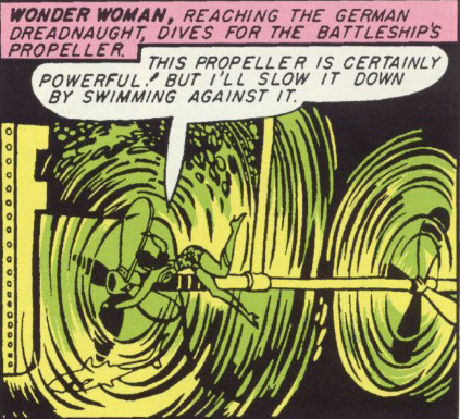 Wonder Woman stops the u-boats by swimming against their engines.