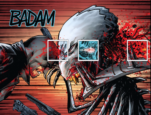Midnighter shoves a bullet through a demon's head.