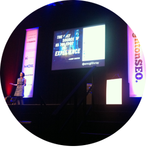 Erica on stage at BrightonSEO